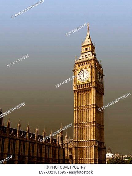 12 o'clock on Big Ben in London, UK