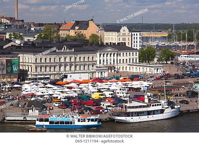 Finland, Helsinki, Helsinki Harbor, Kauppatori area, elevated view