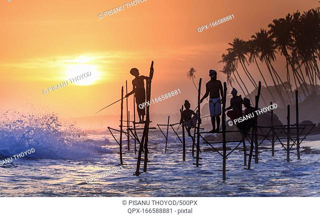 Stilt fishermen of Koggala Beach, Galle, Sri Lanka