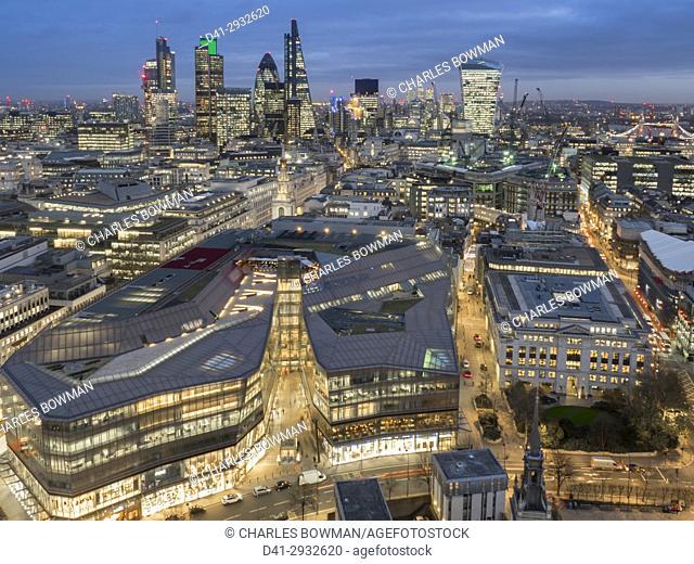 UK, England, London, City cityscape dusk