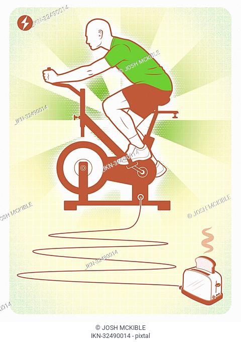 Man on exercise machine connected to toaster