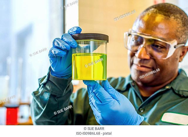 Lab technician looking at beaker of yellow biofuel in biofuel plant laboratory