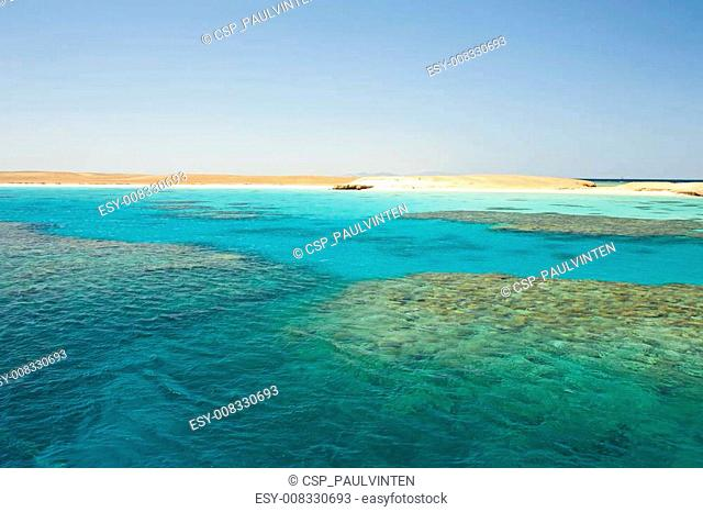 Tropical reef next to an island
