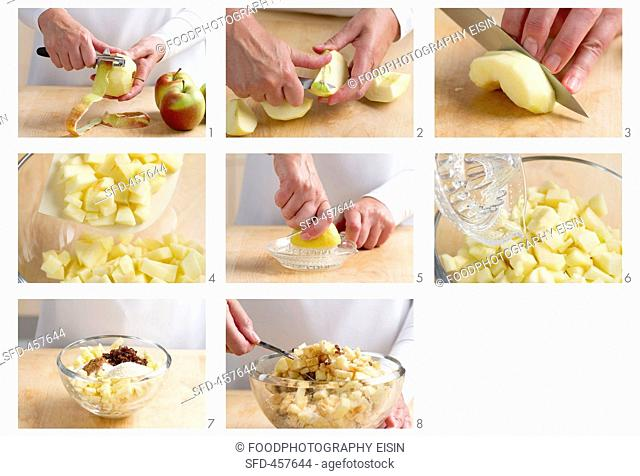 Apple strudel filling being made