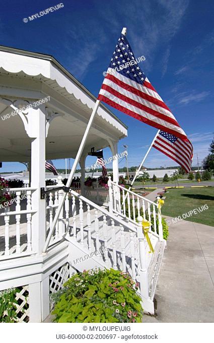 Patriotic gazebo with american flags in Honeoye, New York in the Finger Lakes region