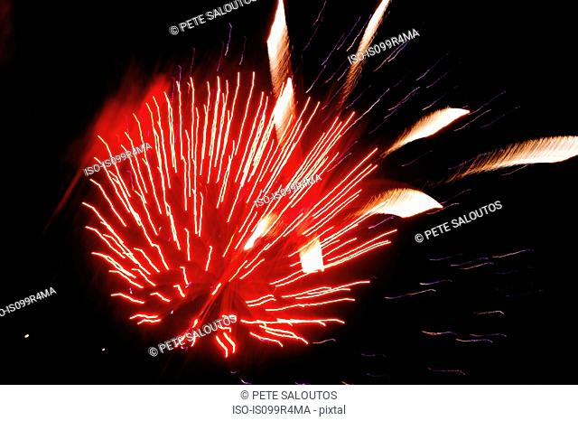 Red firework explosion
