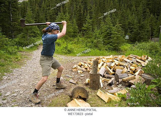 Man chopping firewood in the canadian rockies. Campground somewhere in Kootenay National Park, British Columbia, Canada