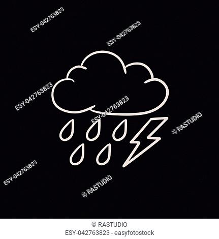 Cloud with rain and lightning bolt vector sketch icon isolated on background. Hand drawn Cloud with rain and lightning icon