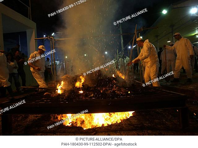 dpatop - Members of the Samaritan community cook Passover Lambs inside blazing fire pits to mark the Passover Sacrifice (Korban Pesakh) ritual, at Mount Gerizim
