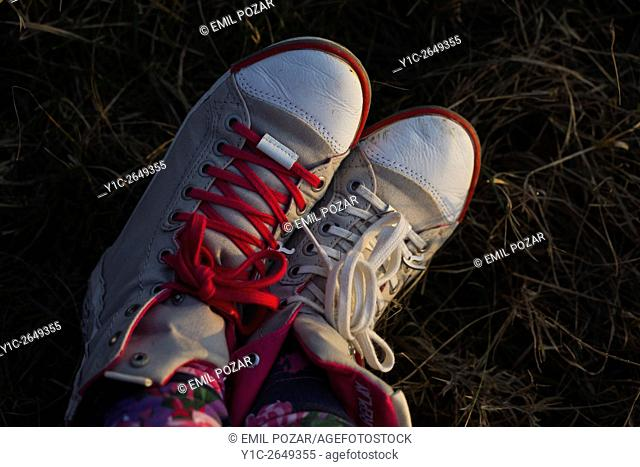 Different laces color sneakers