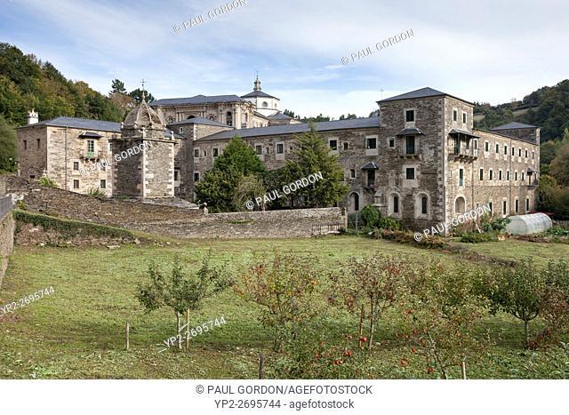 Samos, Spain: Apple orchards at the Benedictine Monastery of San Xulián de Samos