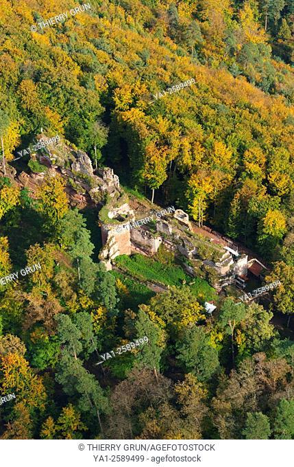 France, Bas Rhin 67, Dambach, chateau de Schoeneck castle aerial view