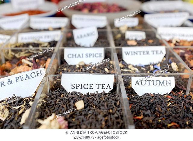 Fragrant loose tea on display
