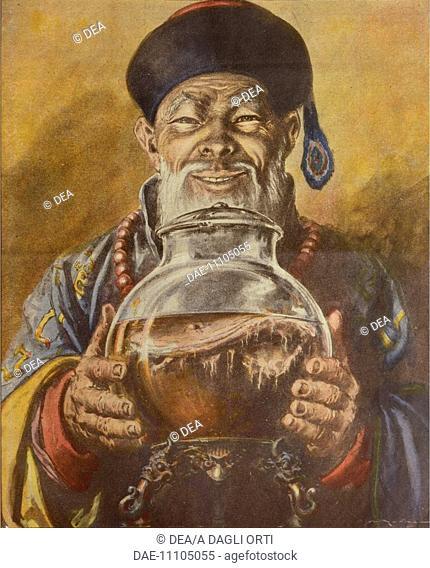 The Chinese mushroom. Illustrator Walter Molino (1915-1997), from La Domenica del Corriere, 19th December 1954