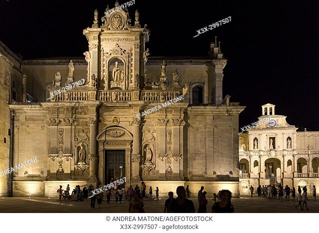 Lecce Cathedral at night. Lecce, Italy
