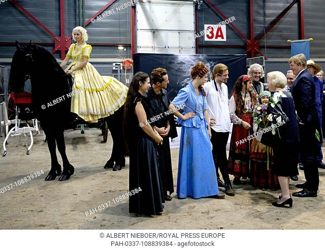 Princess Beatrix of The Netherlands leave at the Expo WTC in Leeuwarden, on September 8, 2018, after attending the premiere of the music and theater show De...