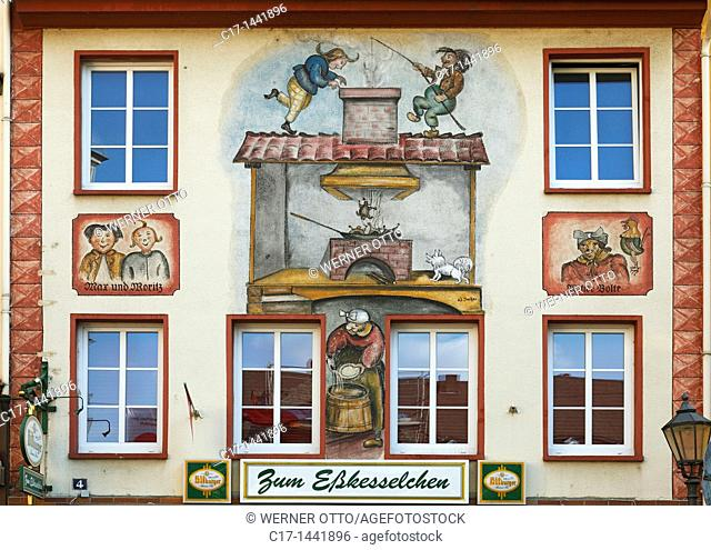 Germany. Koblenz, Rhine, Moselle, Maifeld, Eifel, Hunsrueck, Westerwald, Rhineland-Palatinate, old town, public house Max und Moritz, house facade