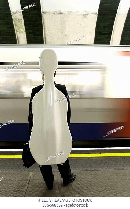 Music, underground station, tube station, London, England, U.K