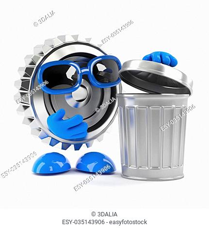 3d render of a cog character looking in a trash can