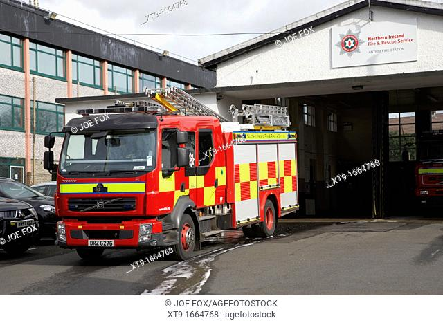 Northern Ireland Fire and Rescue Service NIFRS fire engine at antrim town fire station county antrim northern ireland uk