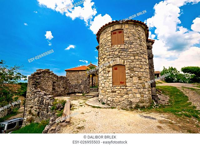 Old town of Hum stone architecture view, Istria, Croatia