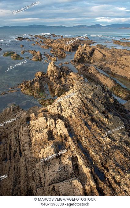 Ria de Vigo coastline  Nigran, Pontevedra, Galicia, Spain