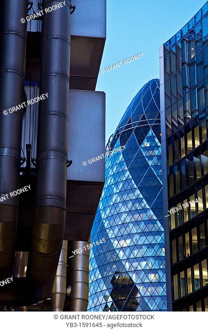 The Lloyds Building and The Swiss Re building The Gherkin, London, England