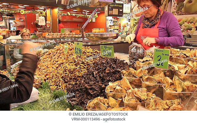 Mushrooms. La Boqueria Market. Barcelona, Catalonia, Spain