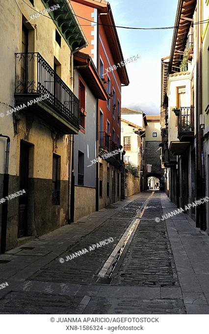 Street in the town of Orduna, Biscay, Basque Country, Spain