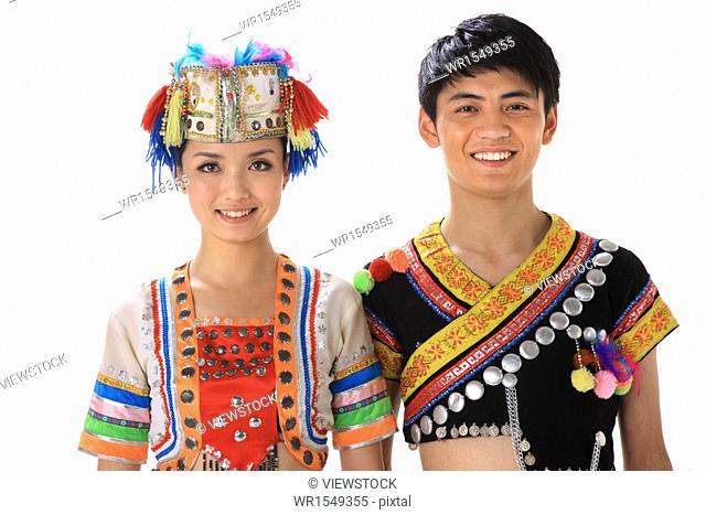 Chinese minority dressed in traditional costume