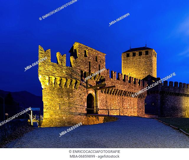 Castello di Montebello at Bellinzona at night, illuminated