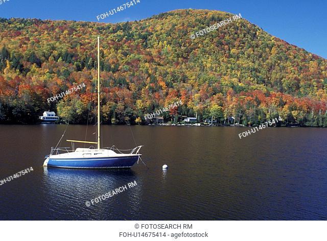lake, sailboat, fall, Barnet, VT, Vermont, Sailboat buoyed on Harveys Lake in the autumn