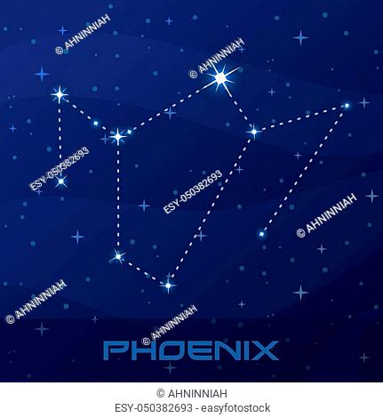 Constellation Phoenix, night star sky poster, flyer advertisement