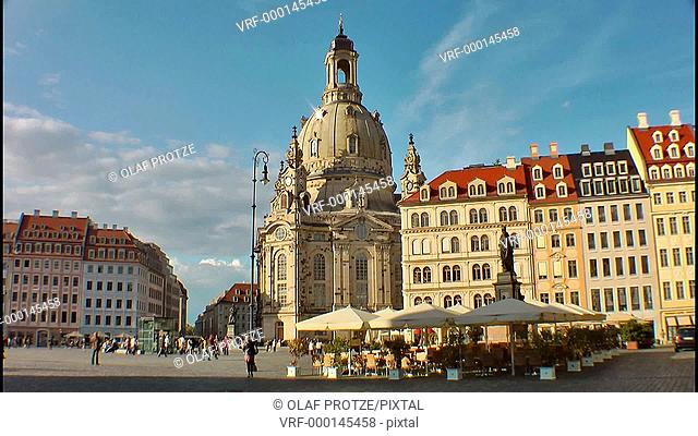Historical Frauenkirche, one of the most important landmarks in Dresden, East Germany
