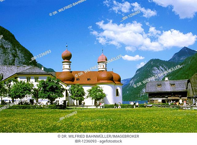 Pilgrimage church St. Bartholomae Saint Bartholomew at the Koenigssee lake, Upper Bavaria, Germany, Europe