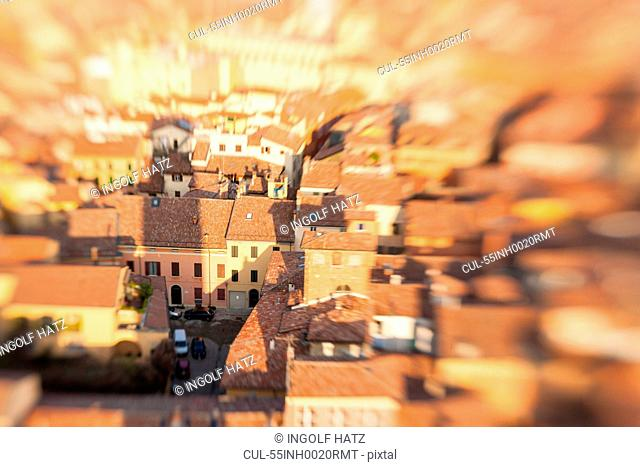 View of historic center of Bologna from medieval tower, Bologna, Emilia Romagna, Italy
