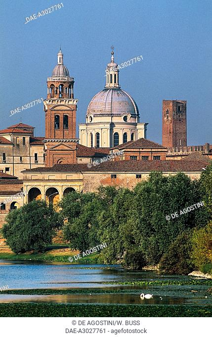 Dome of the Basilica of Sant'Andrea (UNESCO World Heritage Site, 2008) with Lower lake in the foreground, Lombardy, Italy