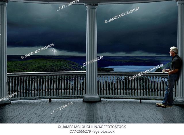 porch, lightning, storm, man. coffee