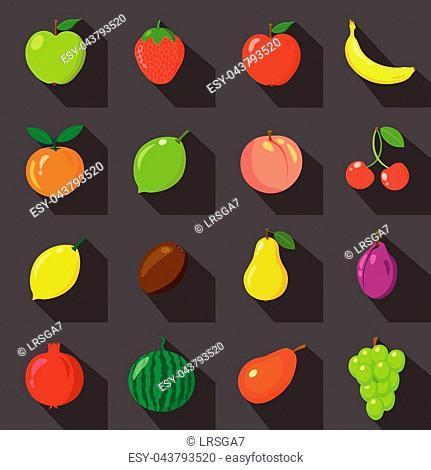 Set of flat icons. Fresh, natural fruits. Black background. Vector illustration