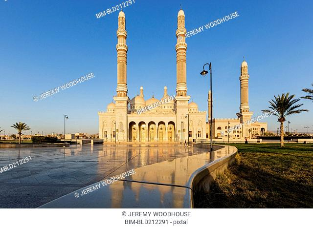 Al Saleh Mosque under blue sky, Sanaa, Yemen