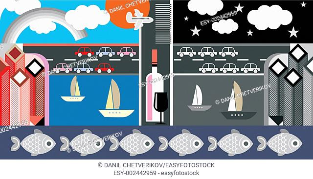 Night and day city - vector illustration