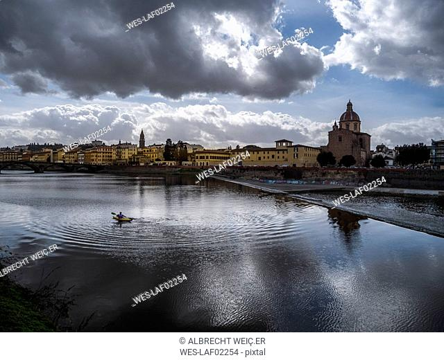 Italy, Tuscany, Florence, Arno river, Chiesa di San Frediano in Cestello, View from Ponte alla Carraia