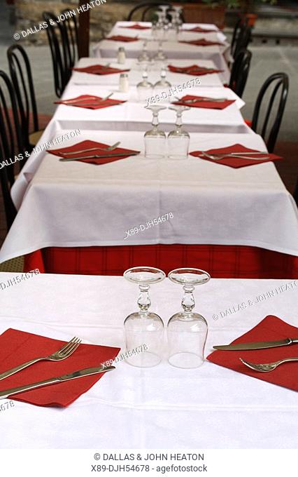 Italy, Tuscany, Florence, Piazza Della Signoria, Restaurant, Tables, Chairs