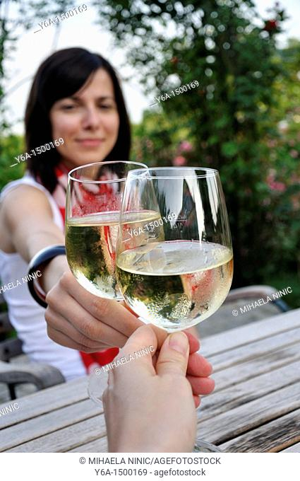 Young woman clinking glasses with friend in outdoor restaurant
