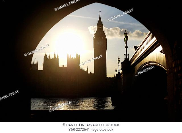 Full-on afternoon sun over the Houses of Parliament, Westminster, London, England, photographed from a Victorian tunnel exit, at one fourthousandth of a second