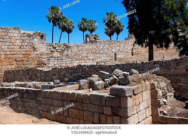 Alcazaba walls, Merida, Badajoz province, Region of Extremadura, Spain, Europe