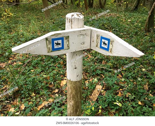 Signpost for a horse trail in Ystad, Scania, Sweden, Scandinavia; Europe