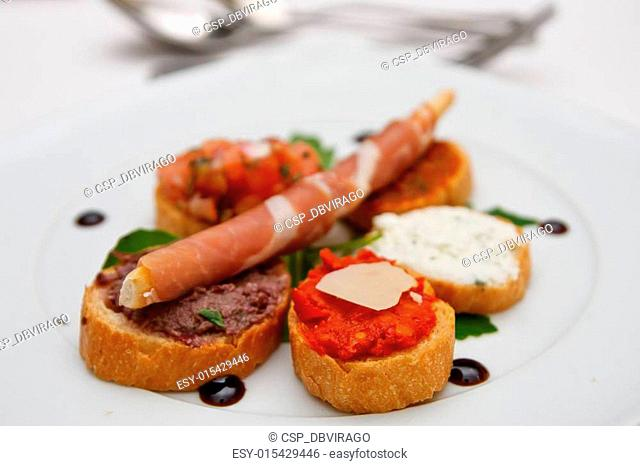 Appetizers on White China Plate