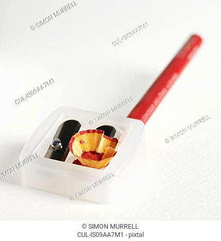 Pencil in pencil sharpener