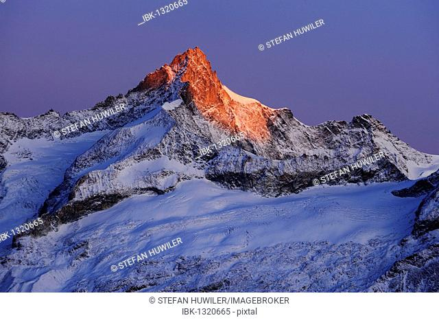 Zinalrothorn mountain at dawn, Zermatt, Valais, Switzerland, Europe